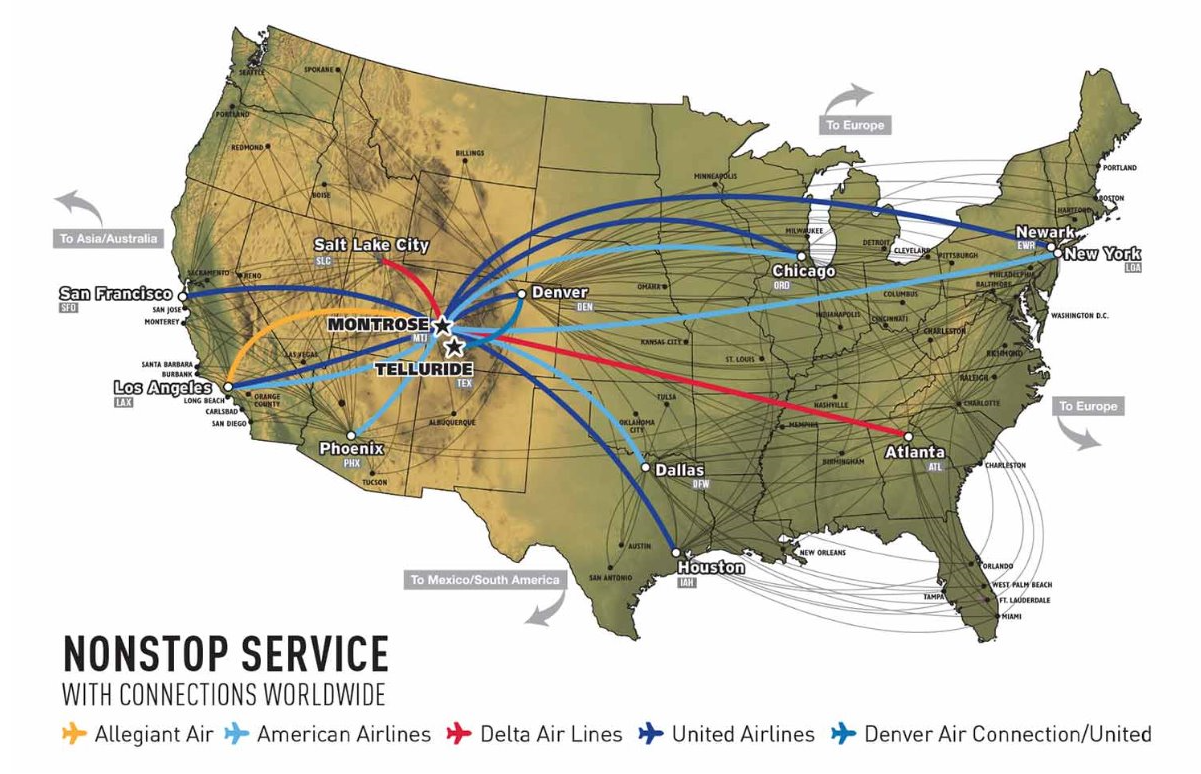 telluride map of flights